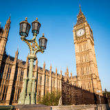 Early morning London:  Houses of Parliament and Big Ben. Low angle view of the key London landmark Big Ben in the early morning sun Royalty Free Stock Images