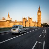 Early morning London: Houses of Parliament, Westminster Bridge royalty free stock photography