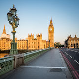Early morning London: Houses of Parliament, Westminster Bridge stock image