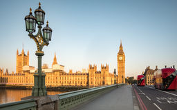 Early morning London:  Houses of Parliament, Westminster Bridge Royalty Free Stock Images
