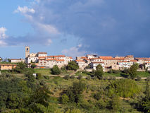 Early morning in Lunigiana. The hilltop village of Moncigoli. Royalty Free Stock Photo