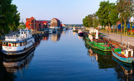 Early morning on the main city quay. Danes river canal. Klaipeda, Lithuania Royalty Free Stock Images
