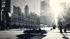 Early morning Manhattan street. Early morning sunshine on a Manhattan street scene royalty free stock photography