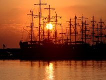 Ships silhouettes . Turkey,Antalya Royalty Free Stock Images
