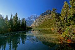 Early morning at Mount Edith Cavell. A refreshing scenery near Mount Edith Cavell in Jasper National Park stock photo