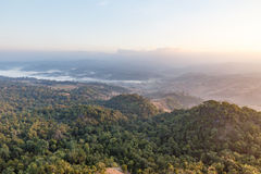 Early Morning Mountain Landscape with Fog at Umphang. Mae Hong Son Province, Thailand Royalty Free Stock Photos