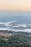 Early Morning Mountain Landscape with Fog at Umphang. Mae Hong Son Province, Thailand Royalty Free Stock Image