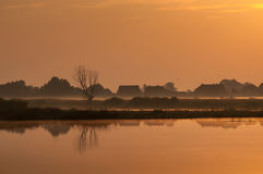 Early morning near the river in countryside Stock Image