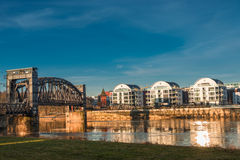 Early morning at new buildings and an old bridge in Magdeburg, G Royalty Free Stock Photography