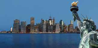 Early morning New York City skyline panorama Royalty Free Stock Images