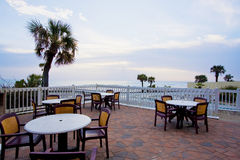 Early morning at an oceanside terrace Stock Images