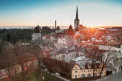 Early morning in old town of Tallinn, Estonia Stock Image