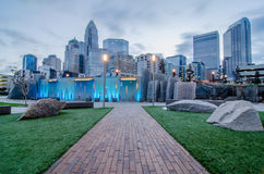 Early morning over charlotte nc near romare bearden park Stock Photography