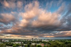 Early morning over the city of Boise Idaho with dramatic sky. Colors of morning paint the clouds over Boise Idaho Stock Image