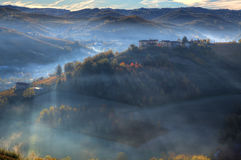Early morning over the hills. Piedmont, Italy. Stock Images