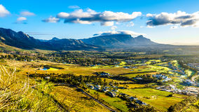 Early morning over the Western Cape with Cape Town and Table Mountain Stock Images
