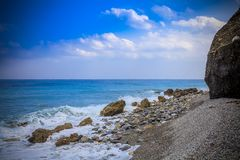 Early morning Pacific South China Sea Seascape. With wavy seas and lazy clouds in the skies Royalty Free Stock Images