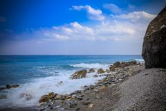 Early morning Pacific South China Sea Seascape. With wavy seas and lazy clouds in the skies Stock Images