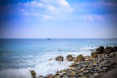 Early morning Pacific South China Sea Seascape. With wavy seas and lazy clouds in the skies Royalty Free Stock Photos