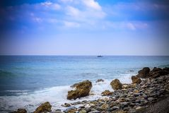 Early morning Pacific South China Sea Seascape. With wavy seas and lazy clouds in the skies Royalty Free Stock Photo
