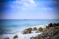 Early morning Pacific South China Sea Seascape. With wavy seas and lazy clouds in the skies Stock Photo