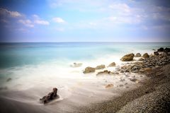 Early morning Pacific South China Sea Seascape. With wavy seas and lazy clouds in the skies Stock Image