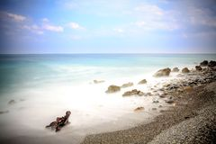 Early morning Pacific South China Sea Seascape. With wavy seas and lazy clouds in the skies Stock Photography