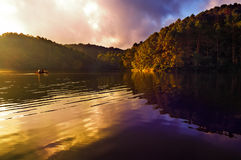 Early Morning at Pang-Ung. Early morning time at Pang-Ung, the most beautiful reservoir in Mae Hong Son province, northern part of Thailand royalty free stock photography