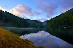 Early Morning at Pang-Ung. Early morning time at Pang-Ung, the most beautiful reservoir in Mae Hong Son province, northern part of Thailand royalty free stock photos