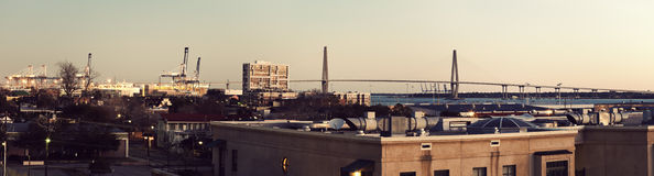 Early morning panorama of Charleston. South Carolina - Arthur Ravenel Jr. Bridge in the background Royalty Free Stock Photo