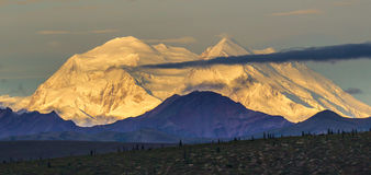 Denali. Early Morning Panoramic Composition of Mount Denali With Light Cloud Cover Royalty Free Stock Photography