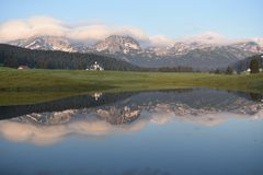 The early morning panorma of the Durmitor royalty free stock photos