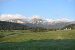 The early morning panorma of the Durmitor royalty free stock photo