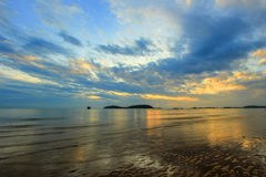 Early in the morning at at Paradonpab Beach. Paradonpab Beach is in Chumphon Province,southern Thailand Royalty Free Stock Photos
