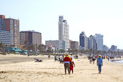 Early Morning People on Addington Beach in Durban Royalty Free Stock Photography