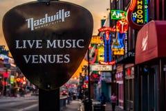 Nashville Live Music Venue. Early morning Photo of the sign Nashville Live Music Venue Downtown Nashville TN 04/02/2018 stock photography