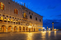 Early morning on Piazza San Marco near the Doge`s Palace, Venice Royalty Free Stock Photo