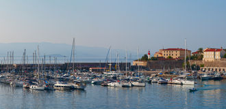 Early morning in the port of Ajaccio. Corsica, France. Stock Images