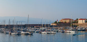 Early morning in the port of Ajaccio. Corsica, France Royalty Free Stock Photo