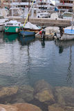 Early morning in the port of Monaco. Boats and yachts moored to the pier Stock Photography