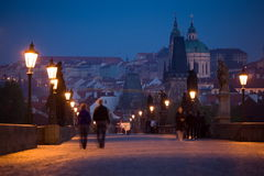 Early morning Prague scenery. Early morning view from Charles Bridge with Little Quarter on the background Royalty Free Stock Photo