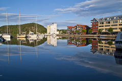 Early morning on quayside in Halden City Stock Photos