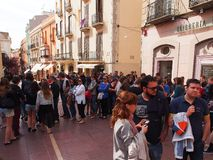 Early Morning Queue Outside Dali Theatre-Museum, Figueres, Spain Stock Images