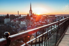 Early morning with rising sun in old Tallinn Stock Image