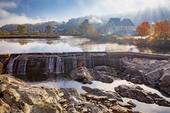 Early Morning River Dam and Waterfall Stock Photography