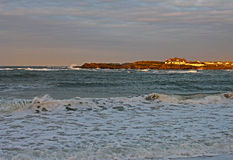 Early Morning and rough sea, Trearddur Bay, Anglsey Royalty Free Stock Images