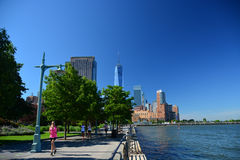 Early morning runners Battery Park City Promenade, NYC Royalty Free Stock Photography