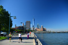 Early morning runners Battery Park City Promenade, NYC Royalty Free Stock Photo
