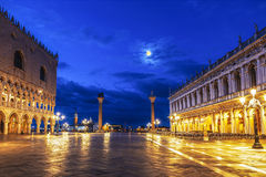 Early morning in the San Marco square near the Doge`s Palace, Venice Royalty Free Stock Photo