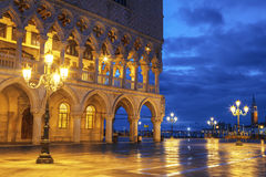 Early morning in the San Marco square near the Doge`s Palace, Venice Royalty Free Stock Image